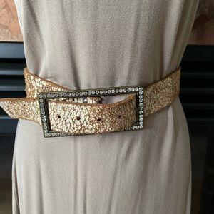Aldo Leather Belt with Rhinestone Detail